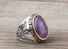 925K Sterling Silver Gemstone Man Ring With Tourmaline Stone (All Sizes) #IstanbulJewellery #Statement