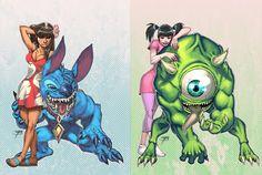 lilo & stitch, boo & Mike Wazowski in an alternate universe.