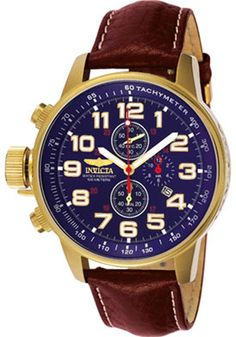 Invicta 3329 Watches,Men's I-Force Chronograph Light Brown Leather, Men's Invicta Quartz Watches
