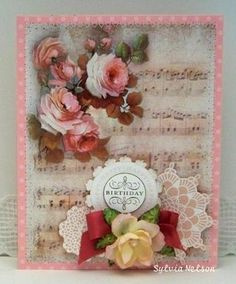 beautiful card using sheet music from Sylvia's Stamp Corner