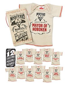 MYSTERIO INFANT T-SHIRT | Cute, Funny, Quirky Career Predictions.  My sister gave me this for baby D and Mysterio predicts he will be a Fortune Cookie Writer!  Great baby shower gift.
