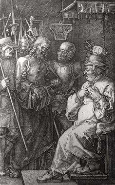 Christ's earthly ministry in the Phillip Medhurst Bible 367 of 550 The high priest rends his garment Mark 14:63 Durer on Flickr. A print from the Phillip Medhurst Collection at St. George's Court, Kidderminster.
