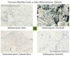 This Zoldiaq quartz - Snowdrift or Caesarstone quartz - is the type of countertop that would look great in an all white kitchen.