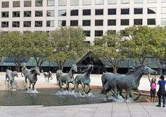 #Bronze #Sculptures #Las #Colinas #Texas #Horses #Water #Falls #Manmade #Attractions