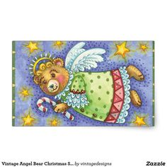 Vintage Angel Bear Christmas Stickers