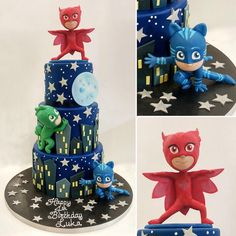 No messing with this PJ Masks 3 tier baby. Featuring Owlette, Cat Boy and Ghecko. I am well versed in these guys having been subjected to… Pj Masks Birthday Cake, Birthday Cookies, 3rd Birthday Boys, 4th Birthday Parties, Pj Mask Party Decorations, Birthday Decorations, Pjmask Party, Festa Pj Masks, Paw Patrol Cake