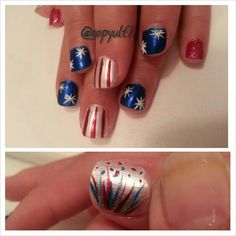 I did my daughter's nails again for the 4th of July♥♥♥♥