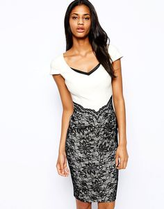 Hybrid Pencil Dress with Scallop Lace Skirt