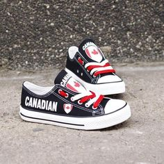 a538f068e5 Custom Printed Low Top Canvas Shoes - Canadian Pride Flag Printing