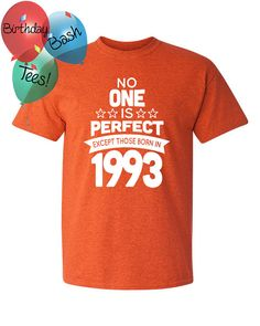23 Year Old Birthday Shirt No One is Perfect by BirthdayBashTees