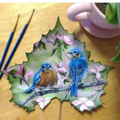 Janette Rose Art Gallery and painting collections - Art By Janette Rose Feather Painting, Butterfly Painting, Painting On Leaves, Leaf Paintings, Dry Leaf Art, Romanticism Artists, Spring Tree, Leaf Crafts, Realistic Paintings