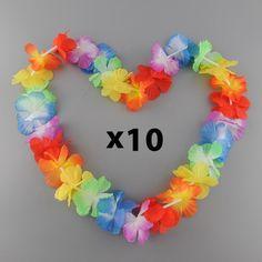 10 x Hawaiian Themed Flower Garland Necklaces