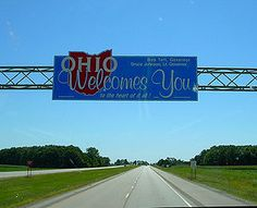 Ohio state welcome sign, along US Route 30