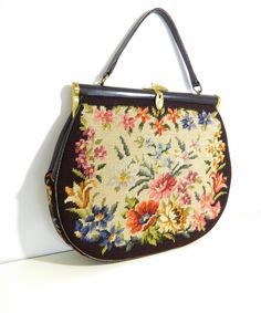 Remarkable Vintage 1940s-1950s hand crafted oversize needlepoint floral tapestry handbag on Etsy, $175.00