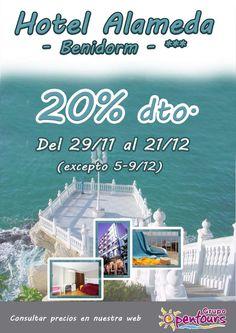 Hotel Alameda *** (Benidorm, Alicante) --- OFERTA 20% de descuento, 29/11-21/12 (exc 05-09/12) --- Más info y condiciones de esta oferta en www.opentours.es --- #hotelalameda #benidorm #alicante #costablanca #escapadas #ofertas #hoteles #agentesdeviajes #agenciasdeviajes #opentours #grupoopentours