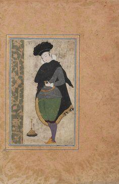 early 17th C. A man in European Attire, by Habîballâh Mashhadî. gouache on paper mounted on paper.  Musées d'Art et d'histoire, Genève
