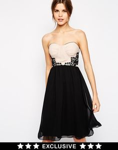 Elise Ryan Ruched Bandeau Skater Dress With Pleated Skirt