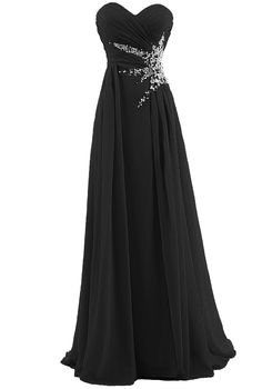 Dresstells Sweetheart Beading Floor-length Chiffon Prom Dress Long Evening Gown Size 12 Black