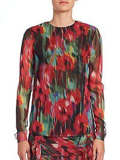 Jason Wu Floral-Print Chiffon Blouse - Black  - Size