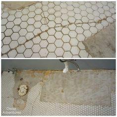 Damaged Hex Tile Floor