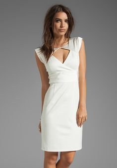 Halston Heritage Sleeve Contrast Ponte Dress with Diamond Cut Out in White - Lyst