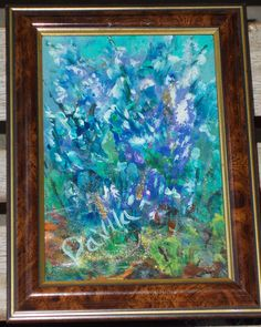 JUST COMPLETED AT MY TEXAS STUDIO. LOVELY BLUE BONNET ACRYLIC PAINTING WITH GLITTER IN BROWN & GOLD TABLE TOP OR WALL FRAME UNDER GLASS.  ART IS 5X7, TOTAL FRAMING IS 6 3/4 X 9.  GREAT FOR HOME OR OFFICE. @ ETSY.COM @ UINMIND
