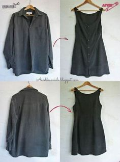An Overview of Teeth Whitening Diy tutorial / Men's Shirt into a Dr. An Overview of Teeth Whitening Diy tutorial / Men's Shirt into a Dress / Sukienka z męskiej koszuli / przeróbka koszuli Sewing Dress, Diy Dress, Sewing Clothes, Dress Shirt, Sewing Diy, Diy Upcycled Dress, Upcycled Clothing, Men Clothes, Dress Clothes