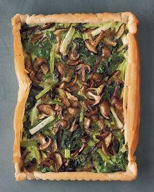 Mushroom, Spinach, and Scallion Tart