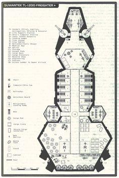 A sci-fi cargo ship floorplan for any futuristic RPG