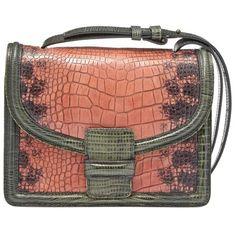 Dries Van Noten Faux Croc Shoulder Bag ($1,070) ❤ liked on Polyvore featuring bags, handbags, shoulder bags, leather purses, red leather handbags, croc embossed leather handbags, genuine leather handbags and red purse