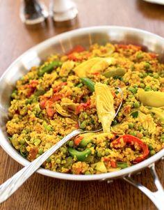 "Quinoa Paella by Nava Atlas, recipe from ""Plant Power"" cookbook"