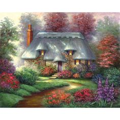 Vintage Cottage -Paint Your Own Masterpiece on STRETCHED Canvas- 11 x 14 - Take your painting skills to the next level! Large Canvas, Canvas Art, Black Canvas, Kinkade Paintings, Grayscale Image, Cottage Art, Cottage Homes, Romantic Cottage, 3d Drawings