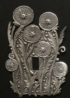 Switch Plate Covers, Light Switch Plates, Light Switch Covers, Aluminum Can Crafts, Aluminum Cans, Metal Embossing, Metal Stamping, Pewter Art, Cultural Crafts