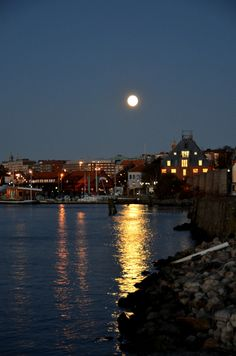 """The Swedish word for the reflection of the moon upon water, like in this image, is """"mångata"""" -- """"moon-street"""". Image from Gothenburg."""