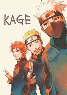 Gaara, Naruto and Kakashi