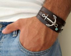 Men's Bracelet  Men's Anchor Bracelet  Men's Leather by Galismens