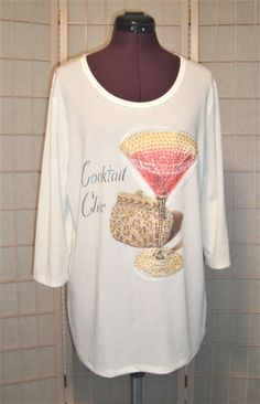 New Beta's Choice Sz XL White Stretch Cocktail Chic Art Deco Sequined Knit Top #BetasChoice #KnitTop