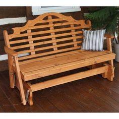 A & L Furniture Western Red Cedar Marlboro Outdoor Loveseat Glider - 573C-GS, ALF119-22