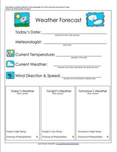 Take a look! Our weather forecast worksheet  is a great teaching tool for basic weather-related topics, such as  temperature, wind direction and speed, and precipitation.