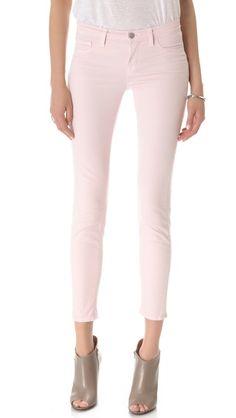 pretty pale pink skinny jeans by J Brand