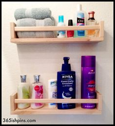 IKEA Spice Rack Turned Toiletry Shelf Keep things off the counter but easy to reach!  365(ish) Days of Pinterest
