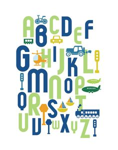 Transport Wall Art For Kids room or Nursery  ABC by UrbanTickle, $38.00