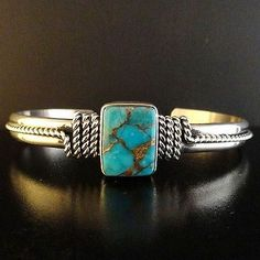 Native American Sterling Silver Kingman Gold Turquoise Bracelet by E Endito S6 5 | eBay $189.00. Such a beautiful piece of turquoise!