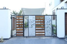 Car parking area gate: modern Houses by Hasta architects Home Gate Design, House Wall Design, House Main Gates Design, Fence Gate Design, Main Entrance Door Design, Front Gate Design, House Front Design, House Gate Models, Gate House