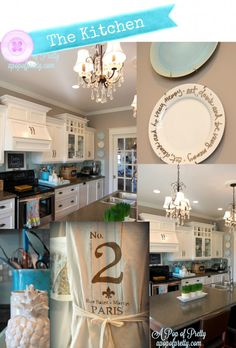 Decorating a Kitchen: White Cabinets ---Navajo White and Gray Walls:  Silver Fox ---- Benjamin Moore ...http://apopofpretty.com/home-tour-a-pop-of-pretty/