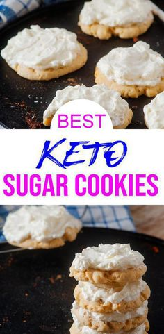 Low carb soft sugar cookies that are tasty & delish. Easy keto recipe for keto desserts, keto snacks, sweet treats - grab and go, make ahead. Copycat Lofthouse sugar cookies with frosting / icing amazing flavor and a few simple ke Keto Cookies, Homemade Sugar Cookies, Soft Sugar Cookies, Sugar Cookie Frosting, Homemade Frosting, Keto Desserts, Holiday Desserts, Dessert Recipes, Keto Snacks