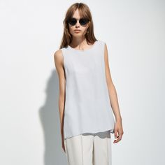 FWSS Wildling is a flowy sleeveless top with centre seam detail and a delicate tie closure at the back. Fall Winter Spring Summer, Grey Top, Basic Tank Top, Tunic Tops, Centre, Delicate, Closure, Tie, Shopping