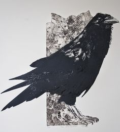 Thus Spoke the Raven - collagraph - Sue Brown Crow Art, Raven Art, Bird Art, Collagraph Printmaking, Crows Ravens, Art Graphique, Graphic Art, Illustration Art, Drawings