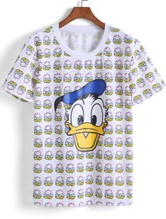 f96f8d19b2a Ladies Disney Mickey Mouse And Donald Duck All Over Print V-Neck... ($62) ❤  liked on Polyvore featuring tops, t-shirts, mickey mouse t shirt, vneck…