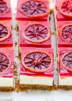 These blood orange cheesecake squares are light and citrusy and one of my favorite Spring desserts. As promised last week, I have a recipe for cheesecake bars with blood orange gelee and topped with c (Cheese Cake Squares) Winter Desserts, Köstliche Desserts, Delicious Desserts, Plated Desserts, Refreshing Desserts, Wedding Desserts, Orange Recipes, Sweet Recipes, Cake Recipes
